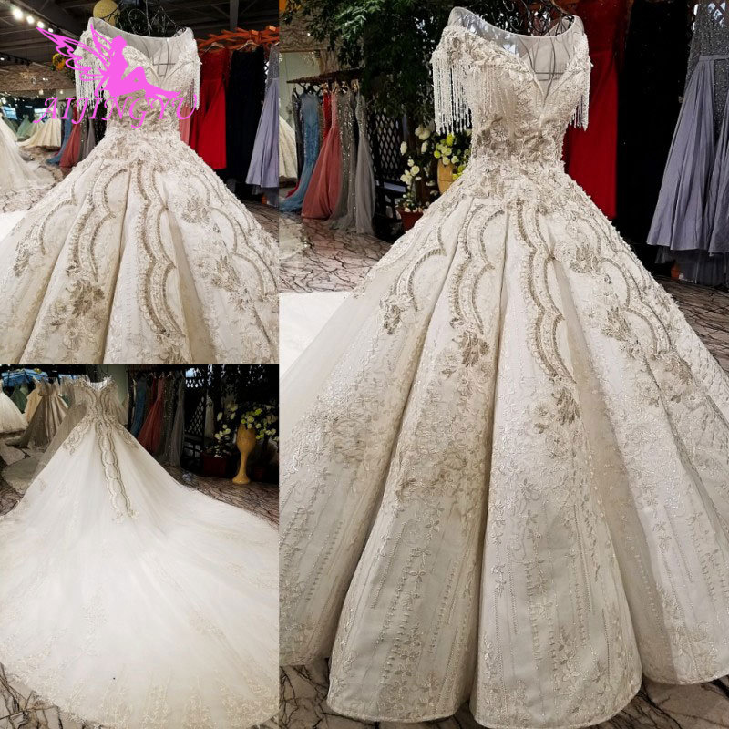 AIJINGYU Lace Wedding Dresses Custom Gown White Bride Free Shipping Plus Size Gowns Online Shop China Marriage Dress