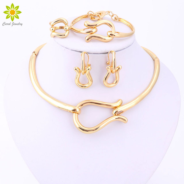 Fashion Jewelry Sets For Women  Gold Plated Choker Necklace Earrings Bracelets Ring Wedding Set Party Accessories