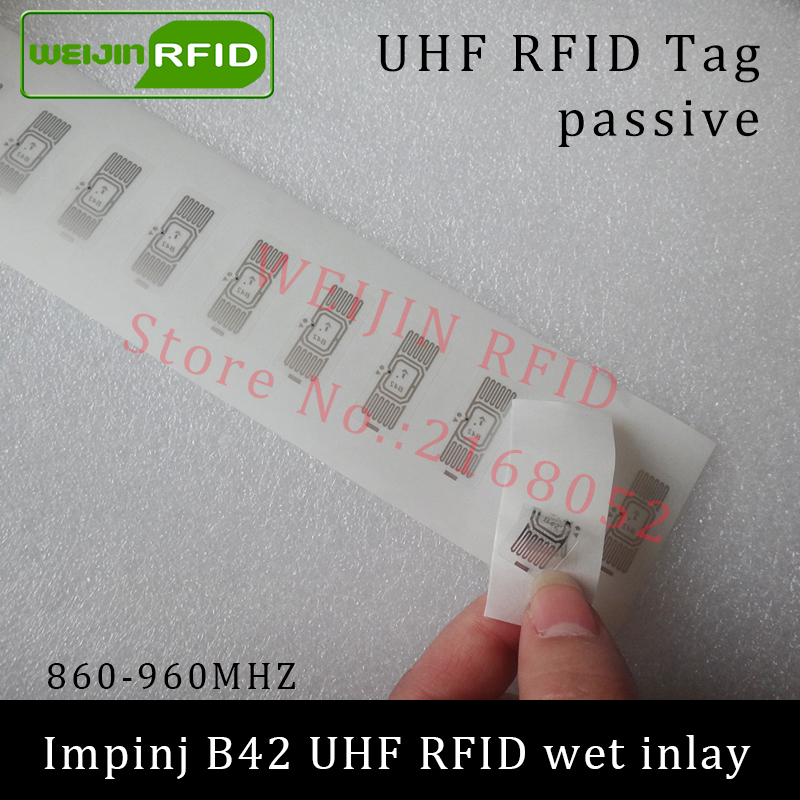UHF RFID tag sticker Impinj B42 wet inlay 915mhz 900 868mhz 860-960MHZ EPCC1G2 6C smart adhesive passive RFID tags label uhf rfid tag sticker alien 9654 wet inlay 915mhz 900 868mhz 860 960mhz higgs3 epcc1g2 6c smart adhesive passive rfid tags label