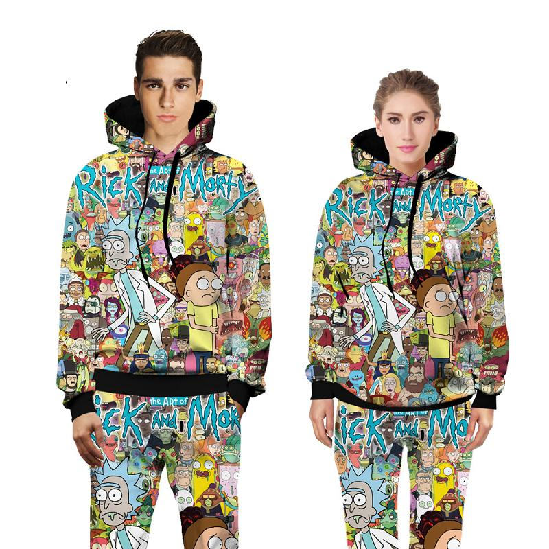 PLstar Cosmos Unisex 3D Hoodies Classic Cartoon Rick and Morty print Hoodie Costume Sweatshirt casual Pullovers clothing J10
