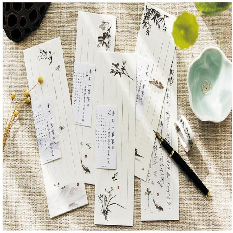 10pcs/set 6.5x19.5cm Mini Small Flower Paint White Japanese Style Cute Letter Paper Set Stationery Letter Pad For School Office