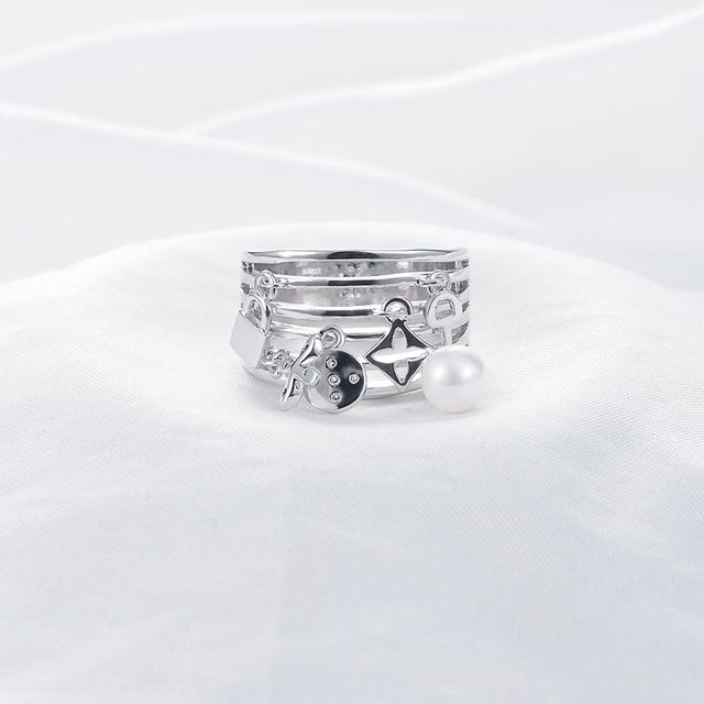 Multilayer Silver Plated Hollow Ring with Charms