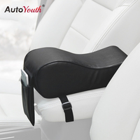 AUTOYOUTH PU Leather Car Armrest Pad Memory Foam Universal Auto Armrests Covers With Phone Pocket For