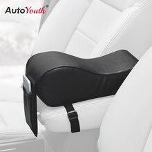 AUTOYOUTH искусственная кожа автомобиль подлокотник Pad пены памяти Универсальный авто крышки подлокотников с карманом для телефона VW/BMW/AUDI/Honda