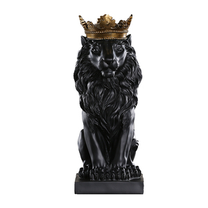 Image 5 - 2020 New Creative Modern Golden Crown Black lion Statue Animal Figurine Sculpture For Home Decorations Attic Ornaments Gifts 2