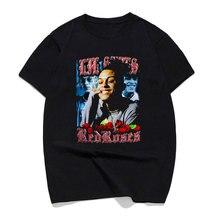 Lil cielo rojo rosas negro Hip Hop rapero camiseta de los hombres T camisa  100 algodón calle camiseta Homme 3xl Camisetas de mod. ee73ec7142b