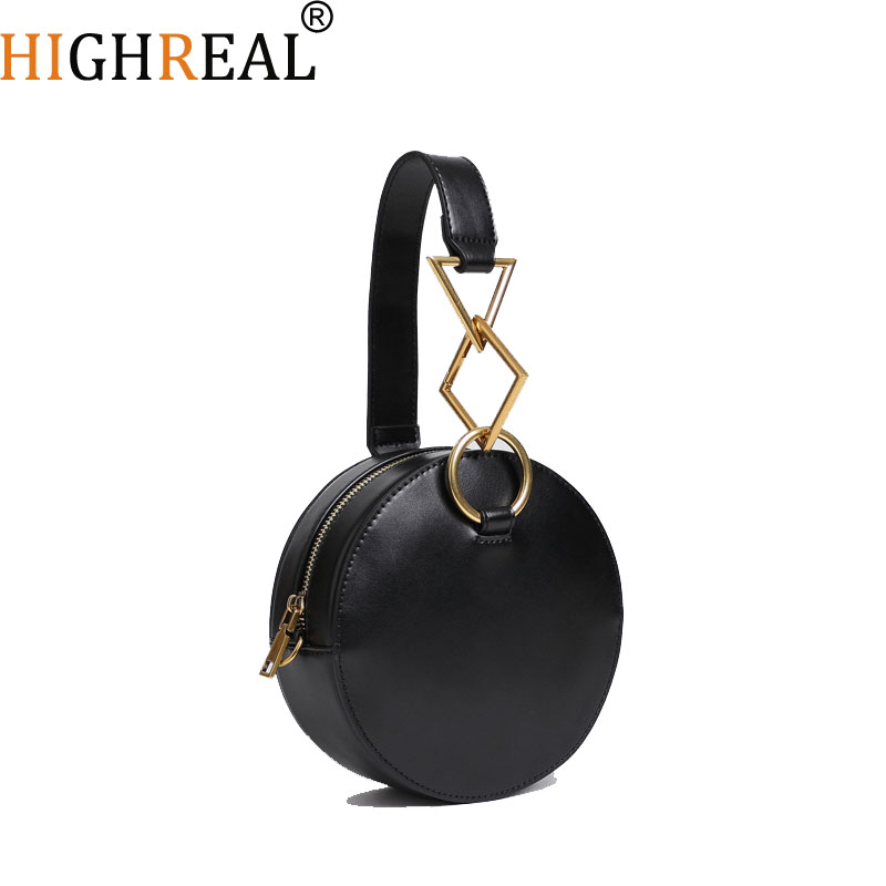 Brand Design Women Genuine Leather Circle Bag Top-handle Tote Bag Round Handbags Cow Leather Messenger Bag Drop Shipping tote bag with round charm