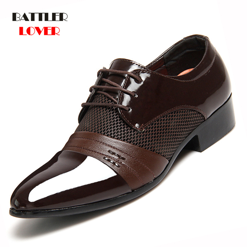 Men Leather Shoes Oxford PU Leather Mens Dress Shoes Business Flat Shoes 48