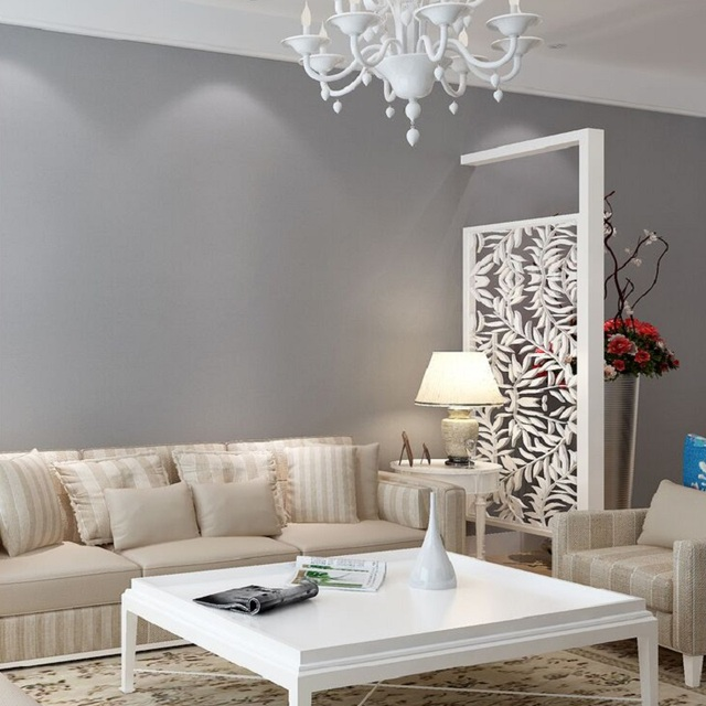 light grey living room wallpaper