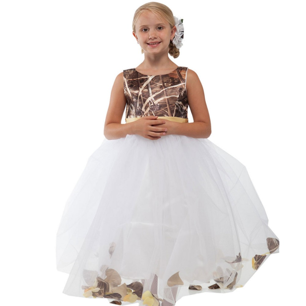 1f8e4c6b468 New Fashion Reed Bulrush Camo Flower Girl Dress White Tulle Skirt Kids  Toddler Formal Party Gowns Girls Camouflage Party Gowns