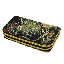 Take Women Ethnic Peacock Embroidery Zipper Wallet Long Card Holder Case Coin Purse deliver