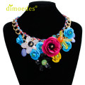 DIOMEDES Creative New Women Mixed Style Chain Crystal Colorful Flower Luxury Weave Necklace Accessories Sexy Chain
