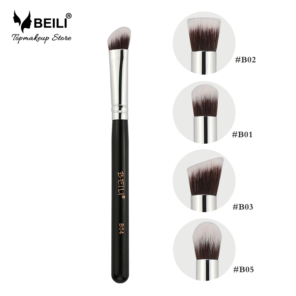 BEILI Small Kabuki Single Eye Foundation Shade Blending Contour Soft Synthetic Hair Vegan Makeup Brush Set