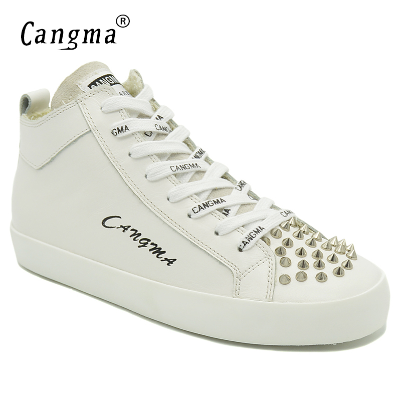 CANGMA Designer Luxury Genuine Leather Shoes Women's Rivets White Sneakers For Girls Casual Shoes Mid Lace Up Footwear Female cangma original casual shoes women sneakers lace up black cow suede footwear female genuine leather mid leisure shoes for woman