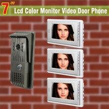 1 Cámara de 3 Monitor de color video de la puerta de pantalla de 7 pulgadas teléfono de la puerta de intercomunicación teléfono Night Vision sistema de intercomunicación timbre de la puerta para casa