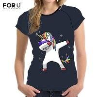 FORUDESIGNS Funny 3D Cartoon Dabbing Unicorn Print Women T Shirts Fashion Short Sleeve Top Tees Summer