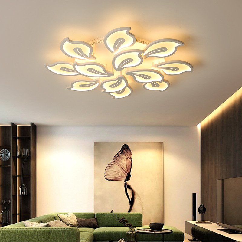 Modern LED Chandelier Ceiling Fixtures for Foyer Living Dining Room Bedroom Remote controller Home Lighting Ceiling Mounted Lamp black and white round lamp modern led light remote control dimmer ceiling lighting home fixtures
