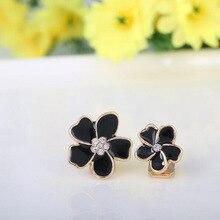 Grace Jun Korea Style Five Flowers Shape Enamel Clip on Earrings Without Piercing for Girls Party No Hole Ear Clip Bijouterie
