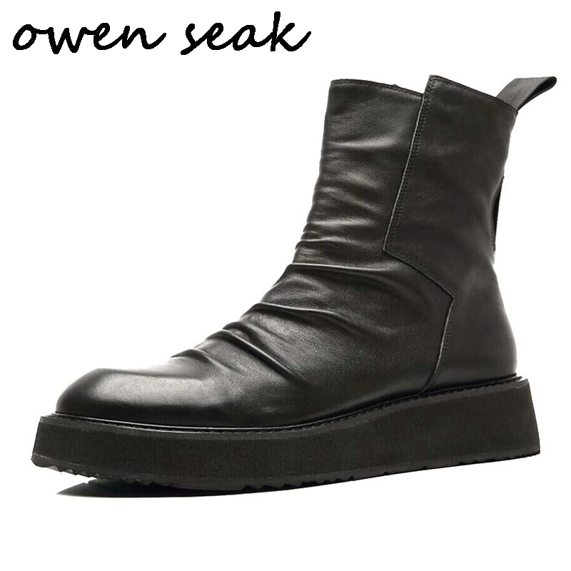 Owen Seak Men Shoes High TOP Ankle Boots Luxury Trainers Cow Leather Men Height Increasing Casual
