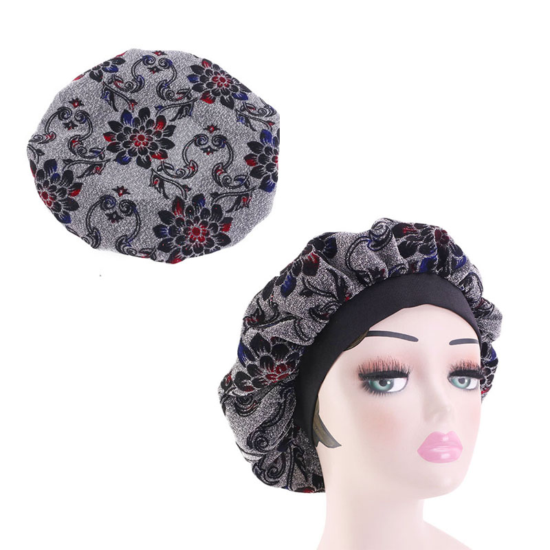 NEW Comfortable Women Fashion glitter Wide Band Satin Bonnet Hair Cap Night Sleep Hat Ladies Turban Sleeping Hat in Women 39 s Hair Accessories from Apparel Accessories