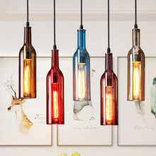 American retro industrial color wine bottle chandelier art creative personality bar bar restaurant cafe lamps LED lighting lamps(China)