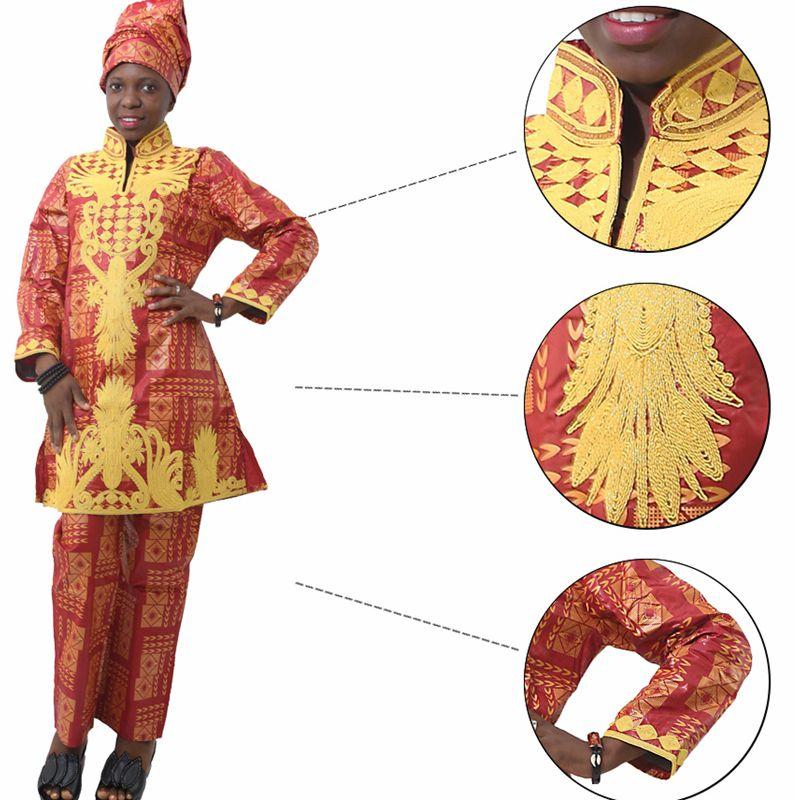 H & D Afrikansk bazin riche broderi design kjole lang topp med bukser - Nasjonale klær - Bilde 3