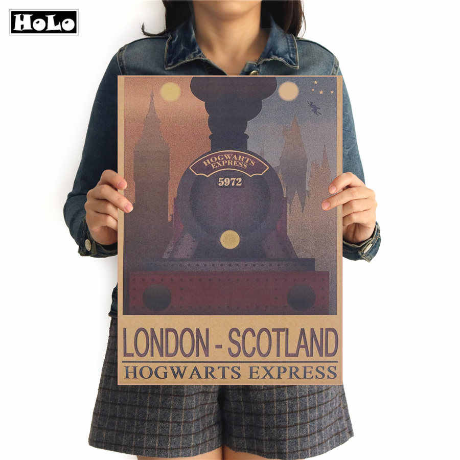 Harry Potter Vintage movie Kraft Paper Poster HOGWARTS EXPRESS LONDON SCOTLAND painting Wall Sticker FTD 42.5x30.5cm