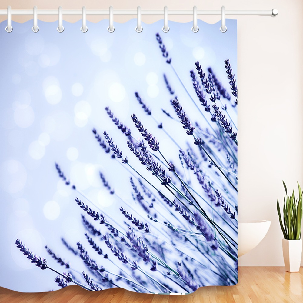 Detail Feedback Questions About LB Waterproof Purple Lavender Light Blue Shower Curtains Floral 180 Washable Polyester Bathroom Curtain Fabric For Bathtub