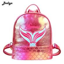 Купить с кэшбэком Fashion Mermaid Pattern Laser Lady Backpack Mini Women Travel Bags PU Leather Holographic Backpack School Bags for Teenage Girls