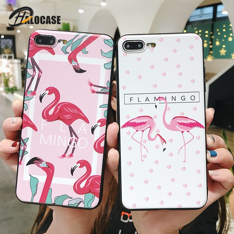 HALACASE Soft TPU Case for iPhone 7 8 Plus Case Ultra Slim Animal Flamingo Pattern Silicone Cover for iPhone X 6 6s Plus marvel glass iphone case