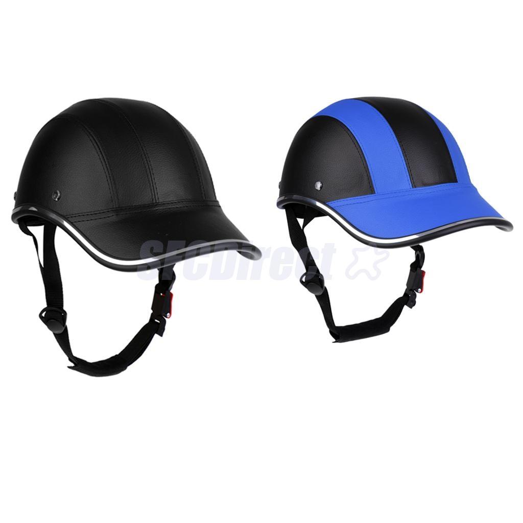 Ultra-light Cycling Helmet PU Baseball Cap Style Bike Motorcycle Visor Black