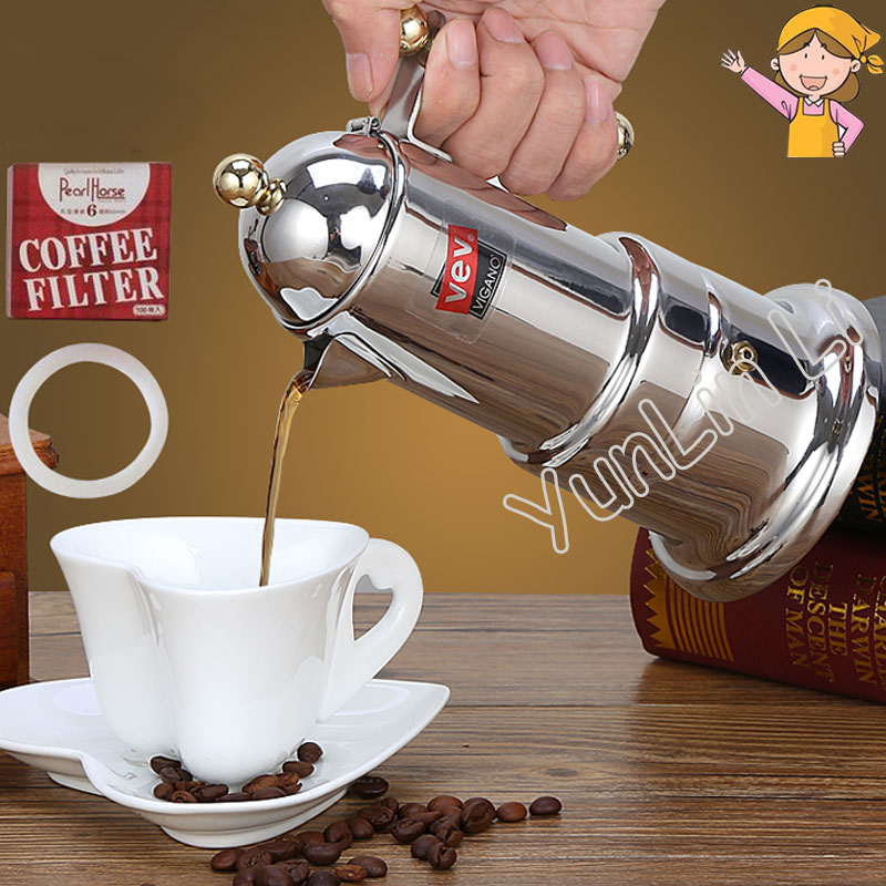 Italian Moka Pot Household Mocha Coffee Machine Stainless ...
