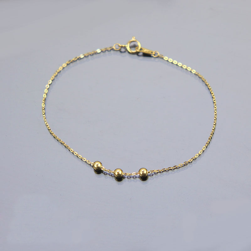 Women S Fashion Bracelet Gold Bead Chain Link Thin Party Gift In Bracelets From Jewelry Accessories On Aliexpress