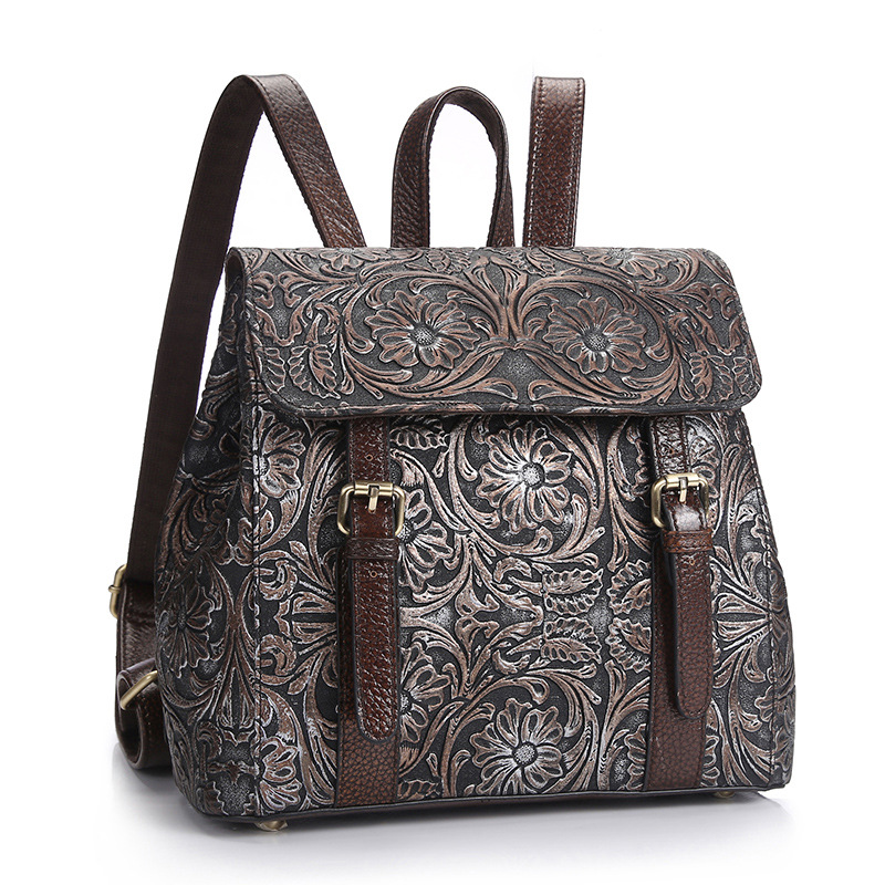 High Quality Women Genuine Leather Backpacks Female Embossed Flower Backpack School Bag Vintage National Travel Bags LS0244