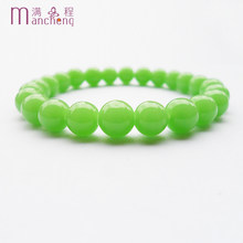 wholesale greenstone Bracelet femme,Good quality men Elasticity green jades bracelet women,Round green jodes beads bracelet 2017(China)