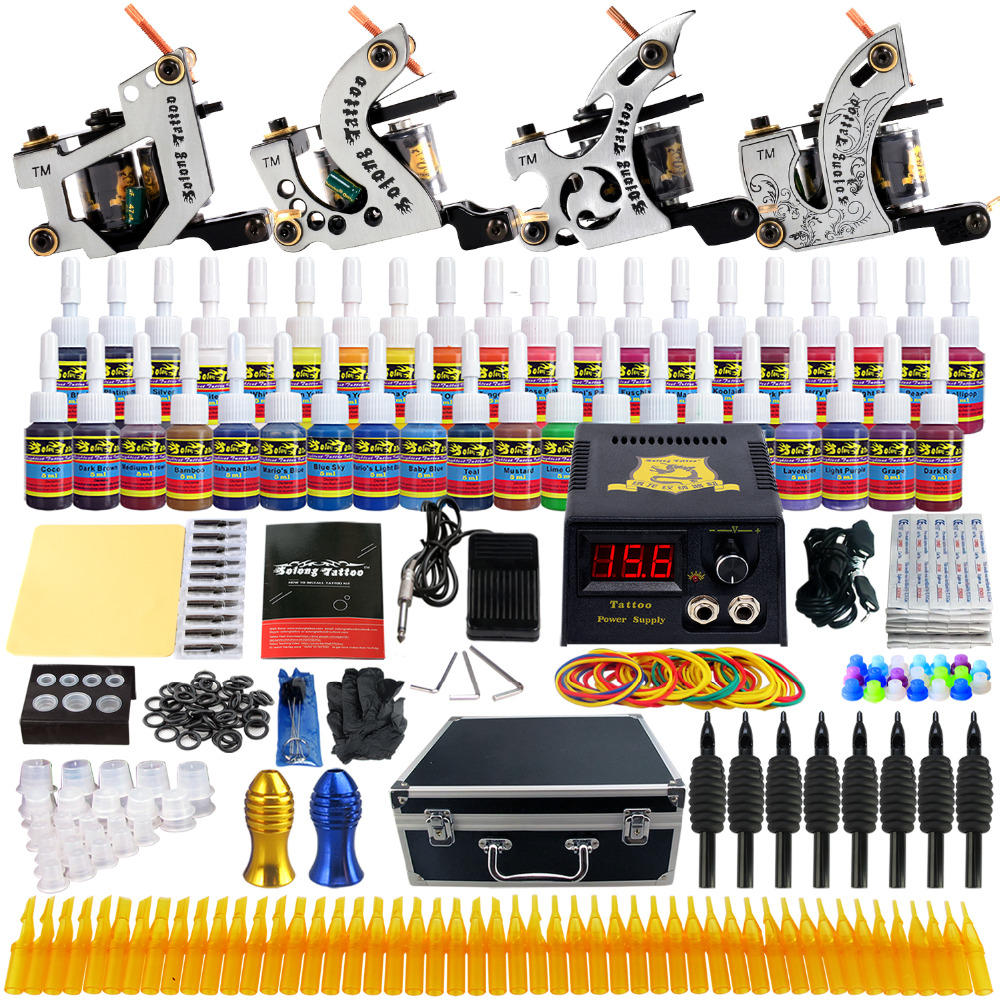 Solong Tattoo Complete Tattoo Kits 10 wrap Coils Guns Machine 54Color Black Tattoo Ink Power Supply Disposable Needle TK459US disposable tattoo tube with needle combo mixed 40 piece