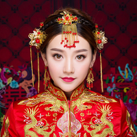 New Chinese Traditional Hair Jewelry Sets Gold Color Flower Hair Sticks Retro Bridal Wedding Hairband Coronet