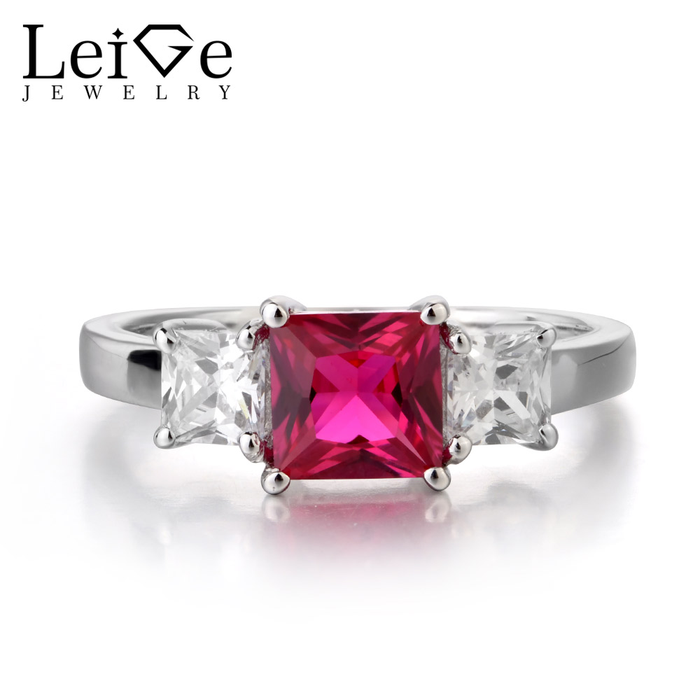 Leige Jewelry Solitaire Ruby Wedding Ring Princess Cut Prong Setting 925 Sterling Silver Wedding Rings for Women Romantic Gift jewelrypalace classic wedding solitaire ring for women pure 925 sterling silver simple wedding jewelry fashion gift