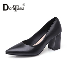 DoraTasia Big Size 32-42 Fashion Women Office Lady Genuine Leather Pointed Toe Shoes Vintage Chunky Heel Pumps