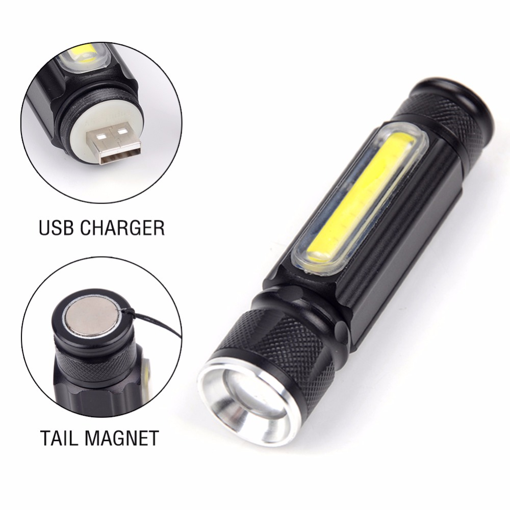 Portable Zoomable USB Flashlight CREE XML-T6 COB 3800LM Rechargeable LED Flashlight Torch Pocket Camping flash light Lamp new rechargeable 600 lumens led flashlight torch cree xml u2 portable flash light free shipping