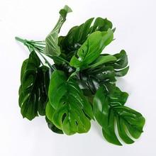12 голов 35 см искусственные листья монстеры для украшения дома и сада DIY офисная спальня Цветочная композиция plantas artificiais
