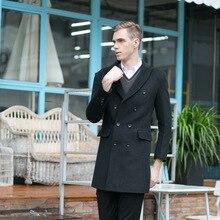 2016 новая зимняя шерстяное пальто мужская одежда пальто мужская ветровка длинный двубортный мужская одежда