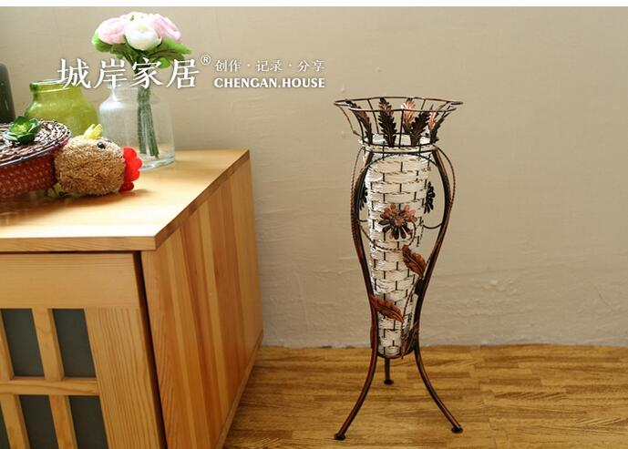 Vintage Hand Woven Iron Floor Vase American Country Style Home Decor Vases  Simulation Flowers Vases