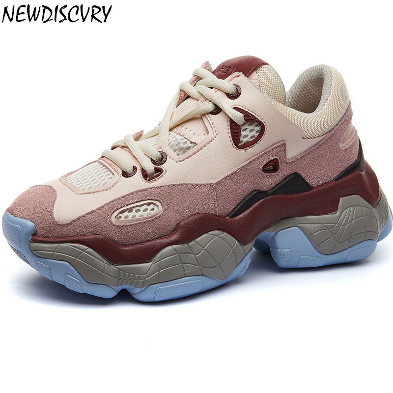 NEWDISCVRY Genuine Leather Women's Chunky Sneakers 2019 Spring Platform Women Shoes Fashion Woman Trainers Ladies Footwear-in Women's Vulcanize Shoes from Shoes    1