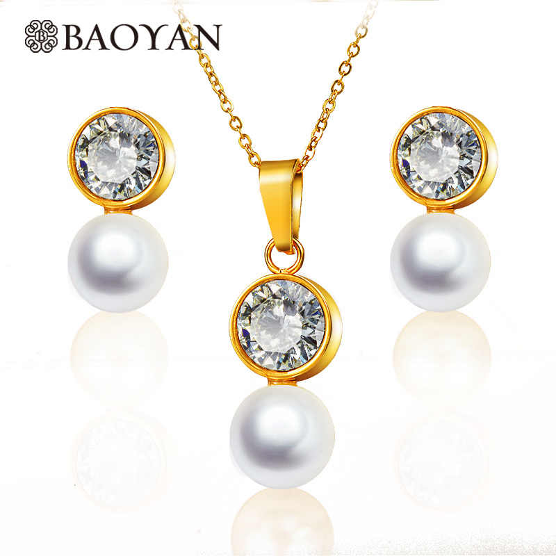 BAOYAN Elegant Cubic Zirconia Crystal Stainless Steel Pendant Necklace Gold Pearl Earrings Round Pearl Jewellery Sets For Women