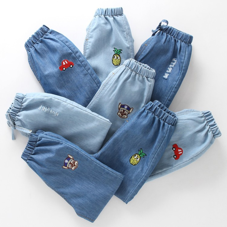 Baby Boys Broken Hole Jeans 2018 Summer Embroidery Denim Pants For Boys Girls Clothes Bottom Cartoon Jeans Cowboy Trousers flower embroidery jeans female light blue casual pants capris 2017 spring summer pockets straight jeans women bottom mz1524