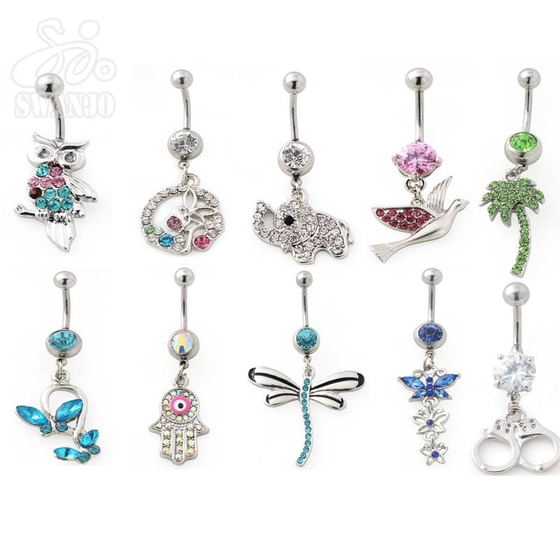 1Pc Many Beautiful Belly Button Rings Ombligo Navel Piercing Body Jewelry Pircing Ombligo Umbigo Dangling Belly Bars Jewellery