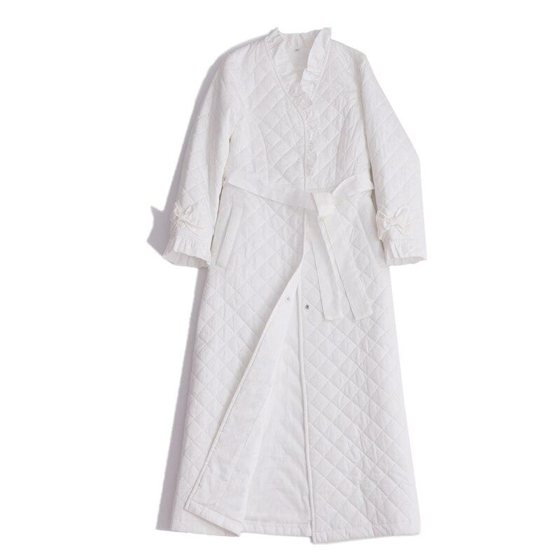 Robe en coton longue chemise de nuit femmes Homewear Robe d'hiver vêtements de nuit dames
