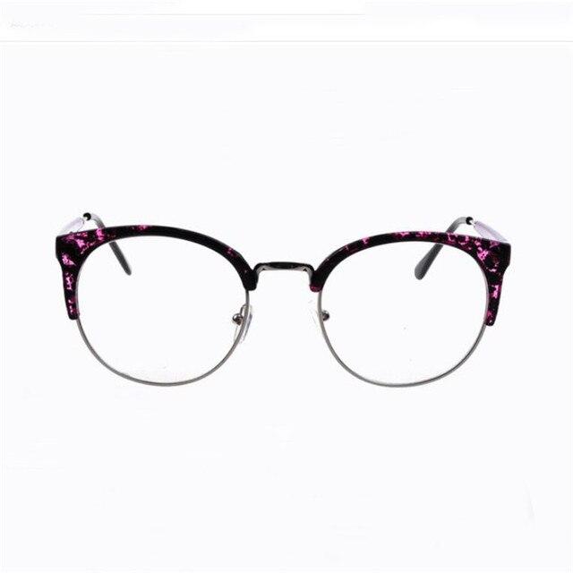 Men Women Retro Big Square Metal Half Frame Glasses Plain Lens ...