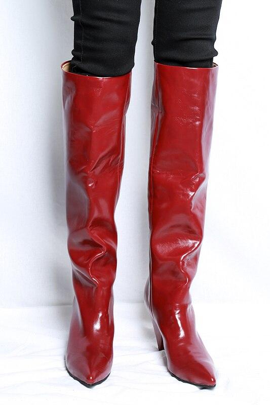 Mujer As La Altas Cuero as Tacón Grueso Largas Genuino Shown Rojo Martin De Shown Otoño Hasta Botas Invierno Rodilla ZOwSdZq
